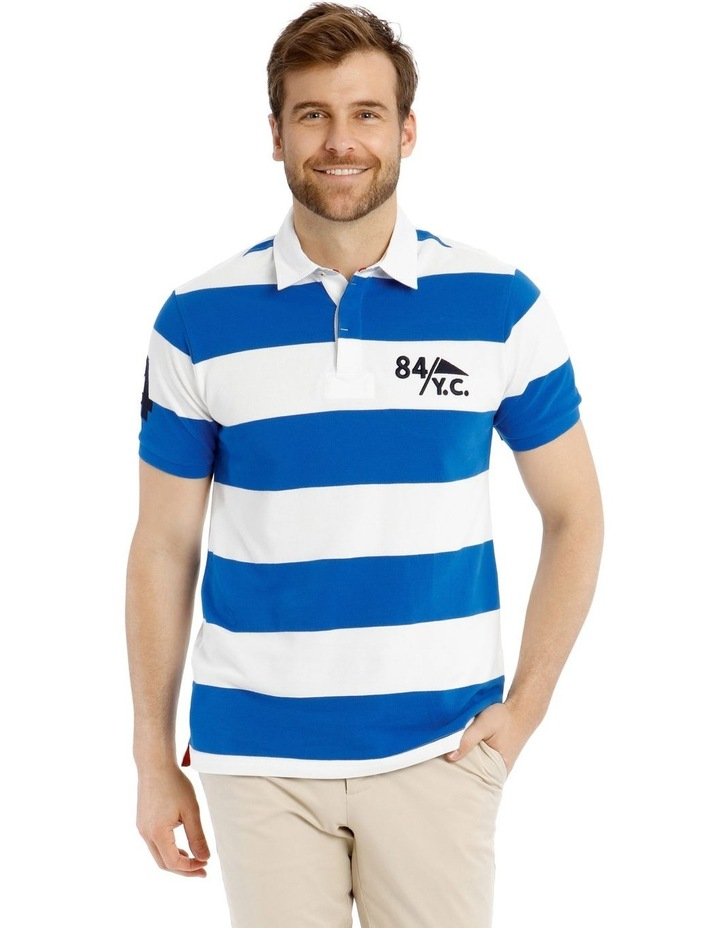 Block Stripe Pique Rugby Polo - Blue image 1