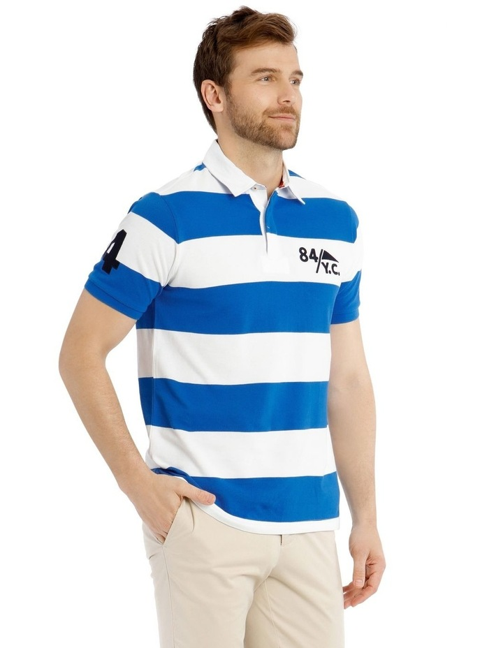 Block Stripe Pique Rugby Polo - Blue image 2