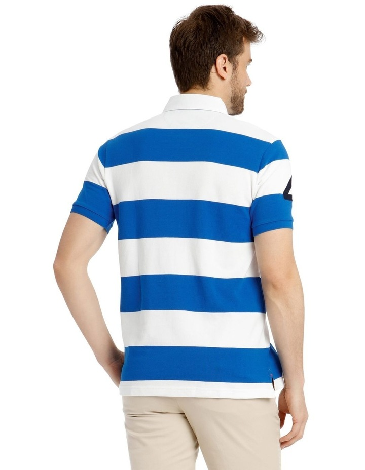 Block Stripe Pique Rugby Polo - Blue image 3