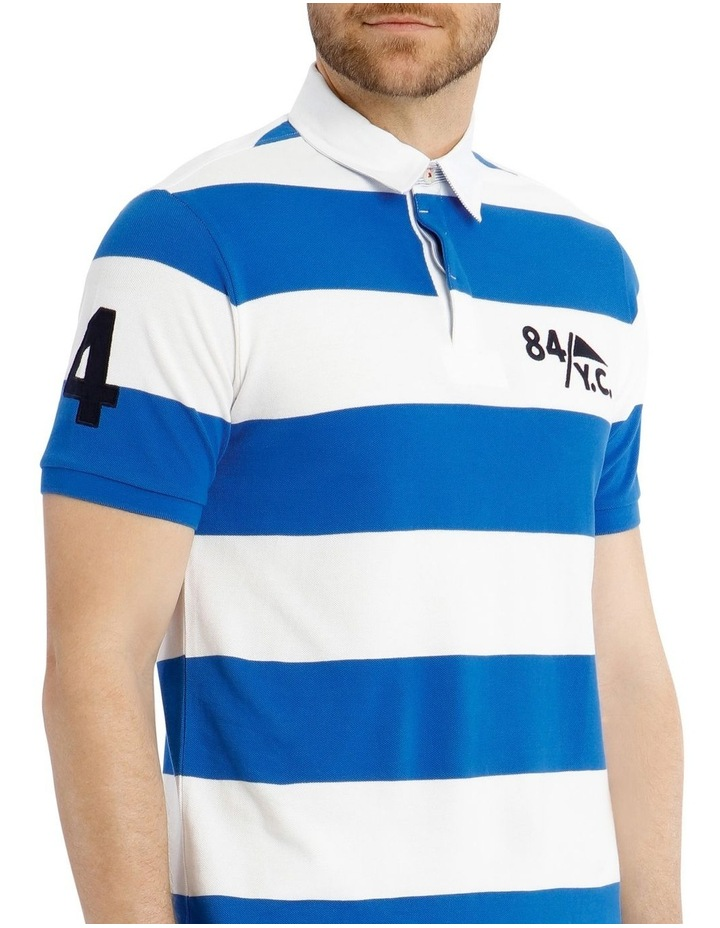 Block Stripe Pique Rugby Polo - Blue image 4