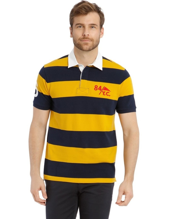 Block Stripe Pique Rugby Polo - Yellow image 1