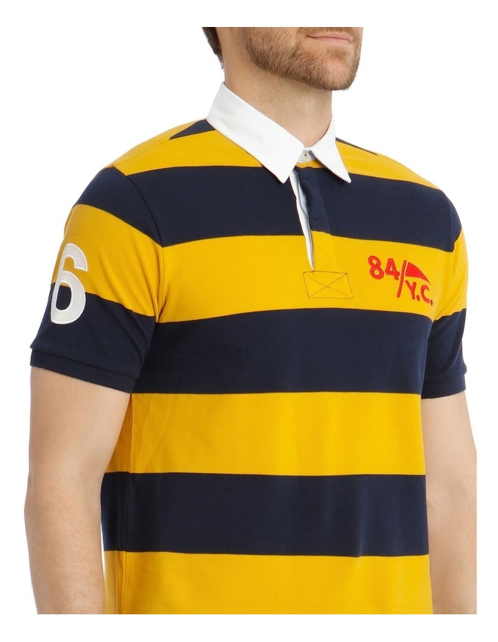 Block Stripe Pique Rugby Polo - Yellow image 4