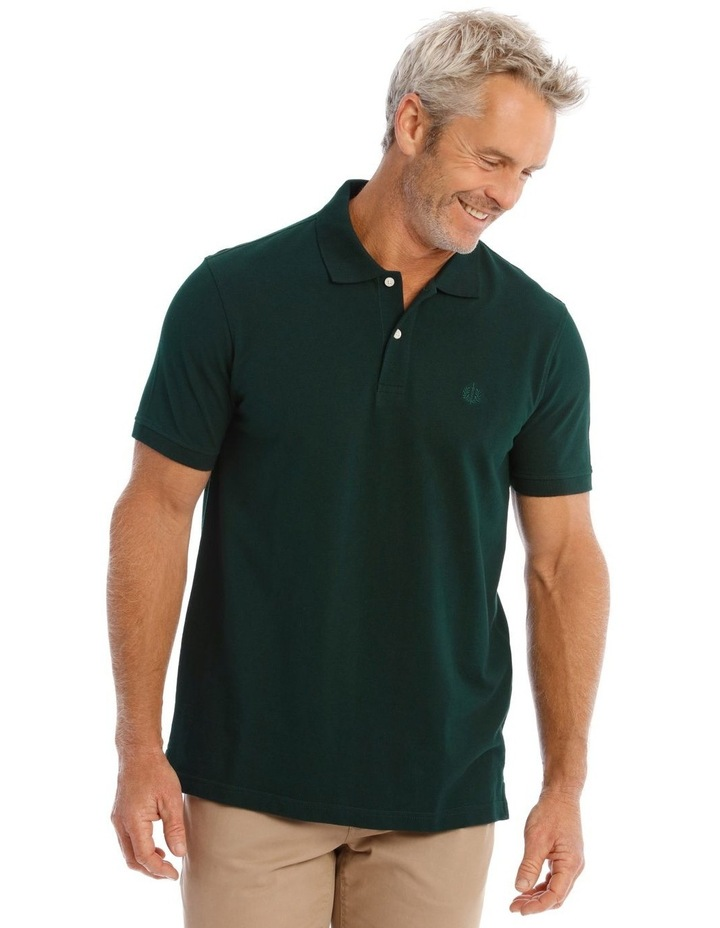 Essential Plain Polo In Emerald image 1
