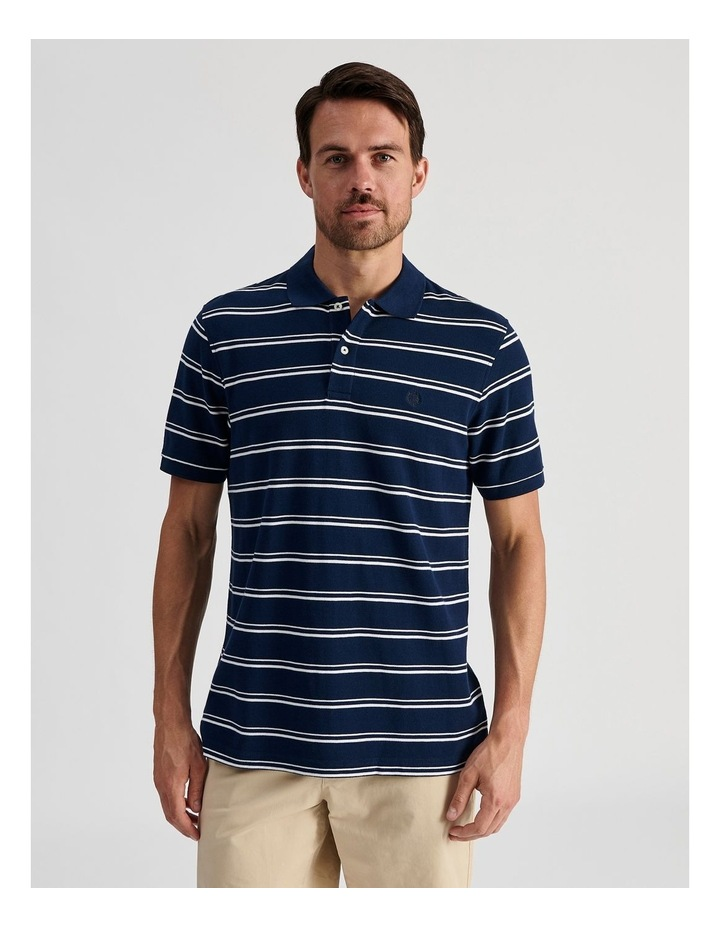 Hobsons Bay Stripe Polo Navy image 1
