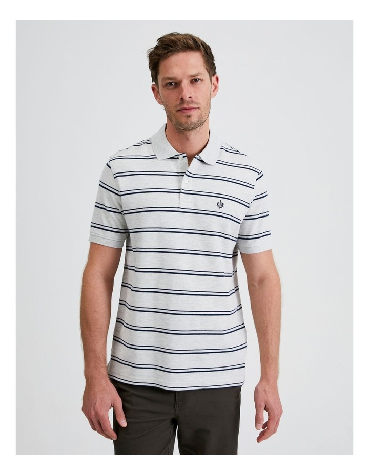 Hobsons Bay Stripe Polo in Grey Marle image 1