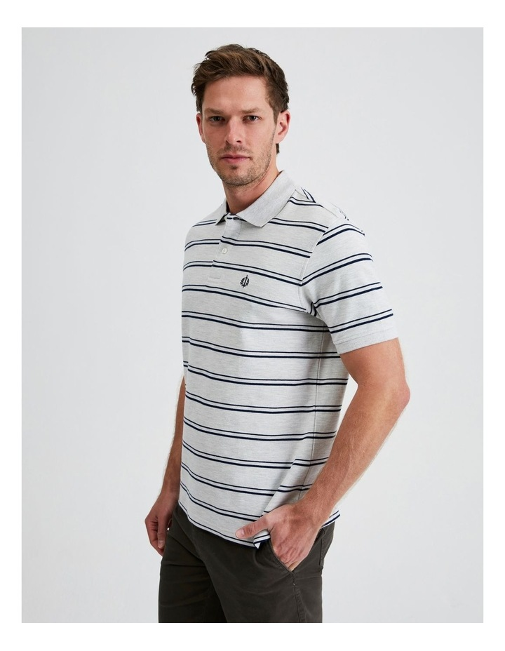 Hobsons Bay Stripe Polo in Grey Marle image 2