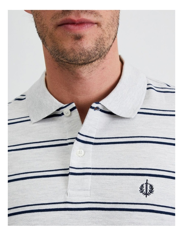 Hobsons Bay Stripe Polo in Grey Marle image 5
