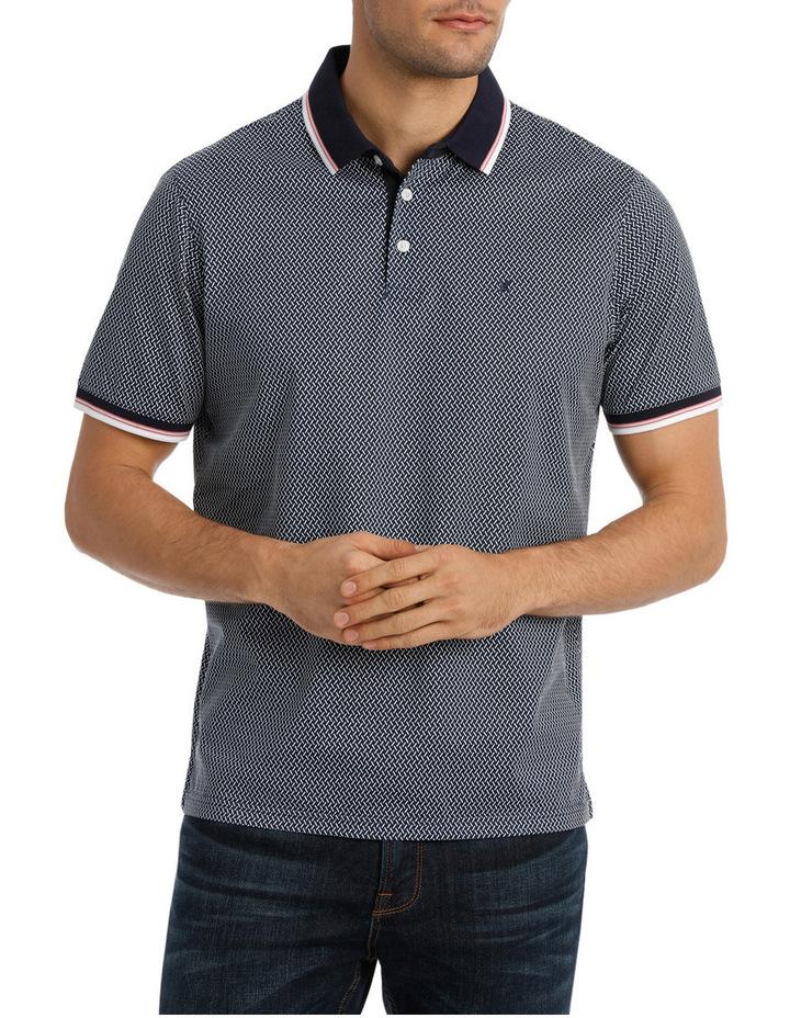 Short Sleeve Mercerised Texture Print Polo image 1
