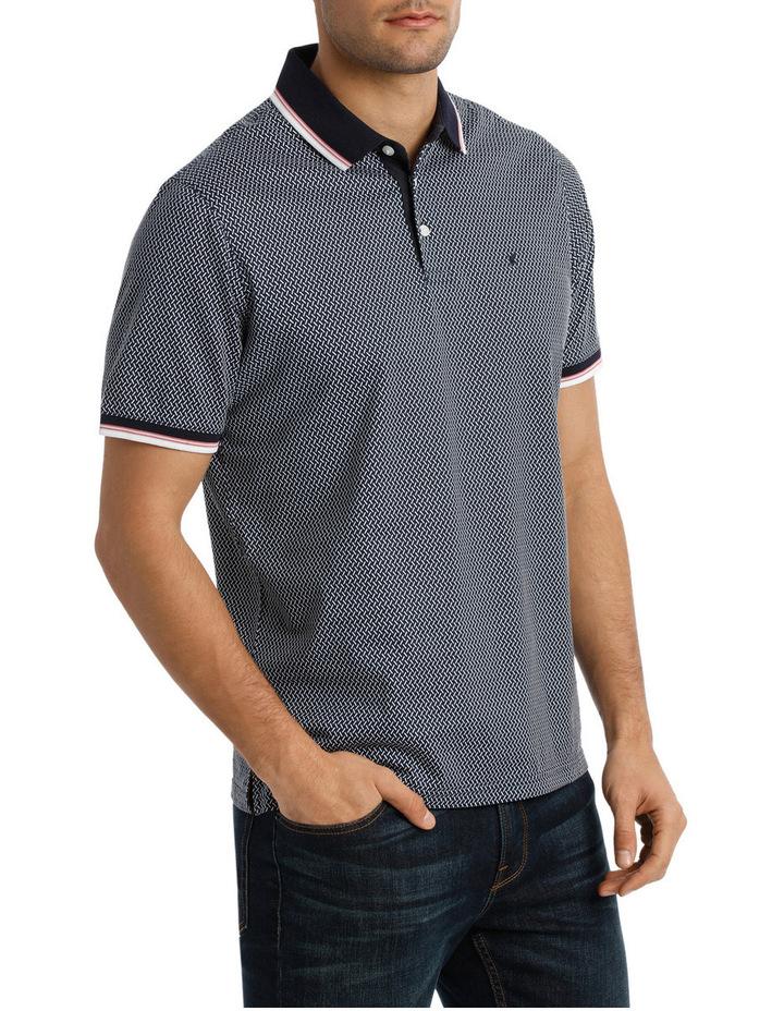 Short Sleeve Mercerised Texture Print Polo image 2