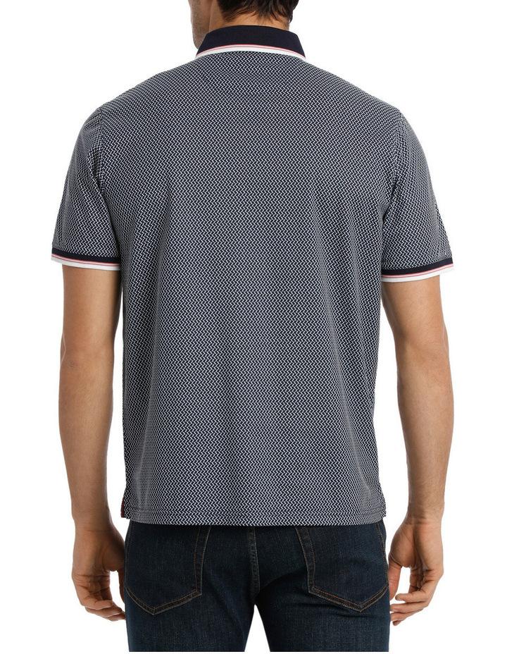 Short Sleeve Mercerised Texture Print Polo image 3