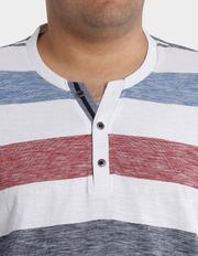 Jack Stone - Short Sleeve Henley Stripe Tee