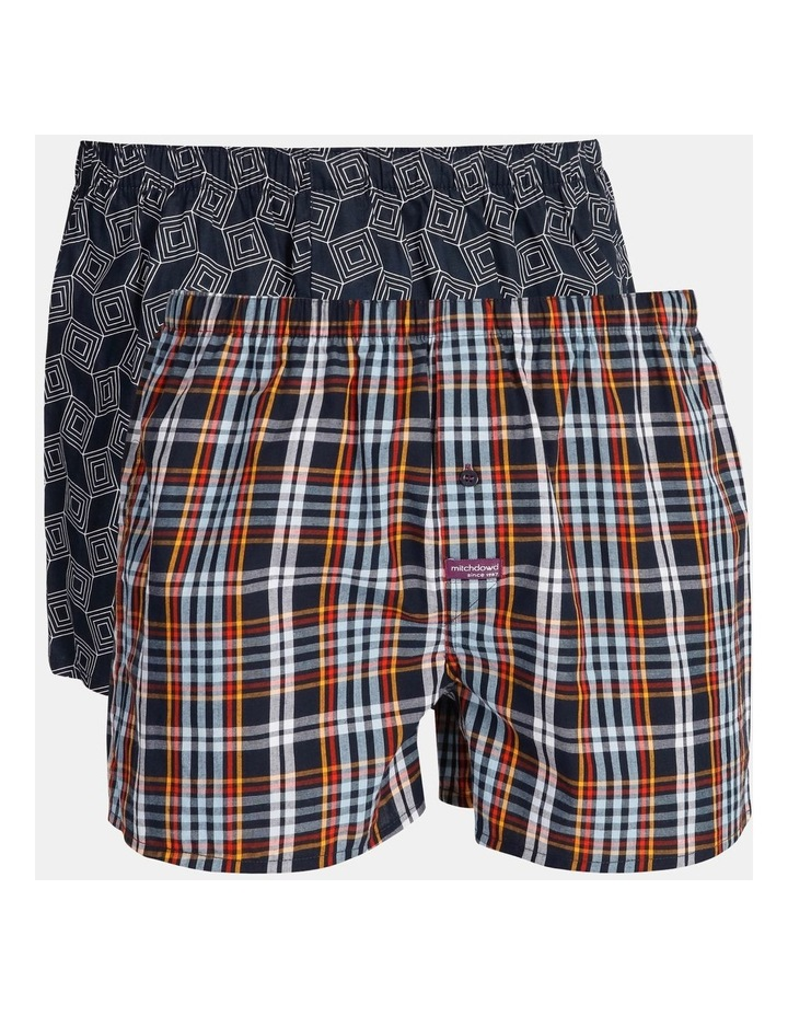 2 Pack Geo Check Woven Boxershorts image 1