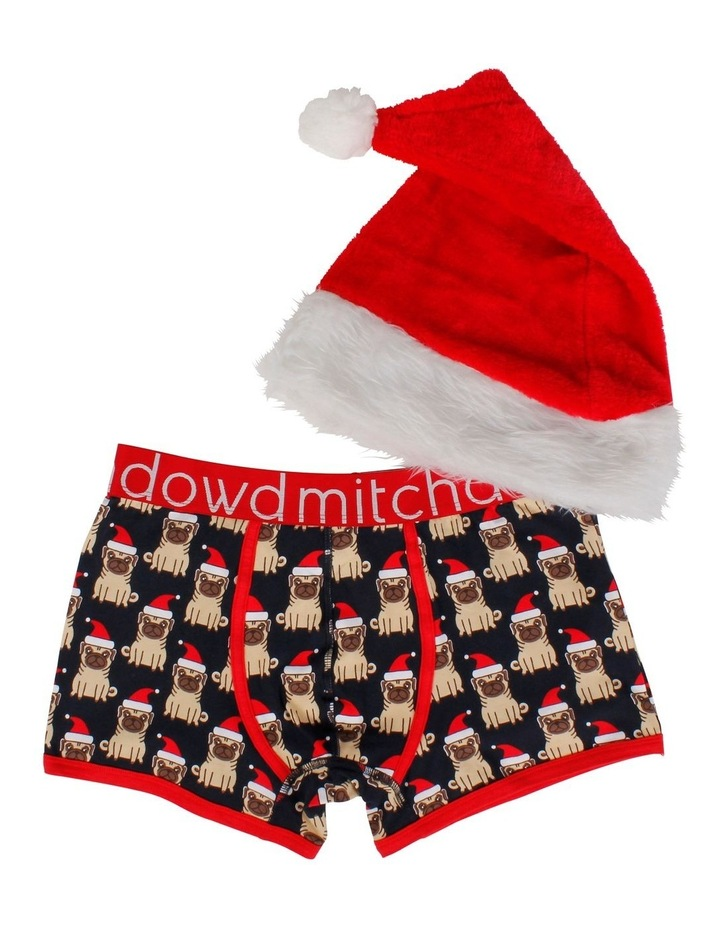 Little Pug Santa Printed Fitted Trunk with Santa Hat image 4