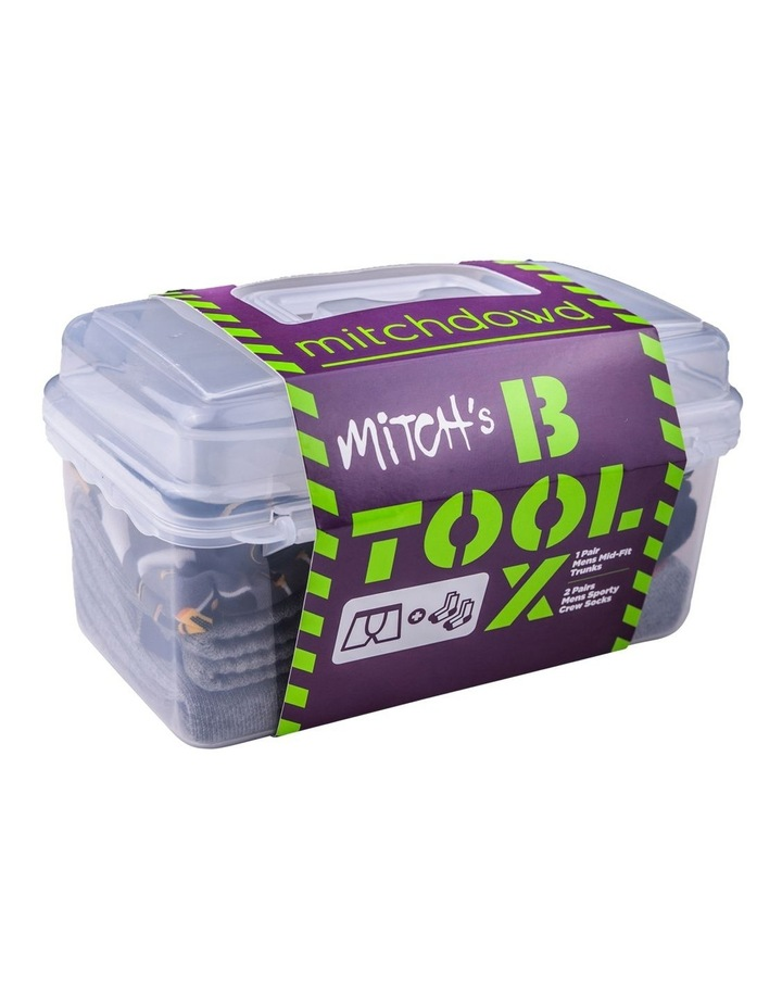 On The Tools Pack - Printed Cotton Blend Mid-Fit Trunk & 2Pr Sporty Crew Socks In Tool Box Box Gift image 7