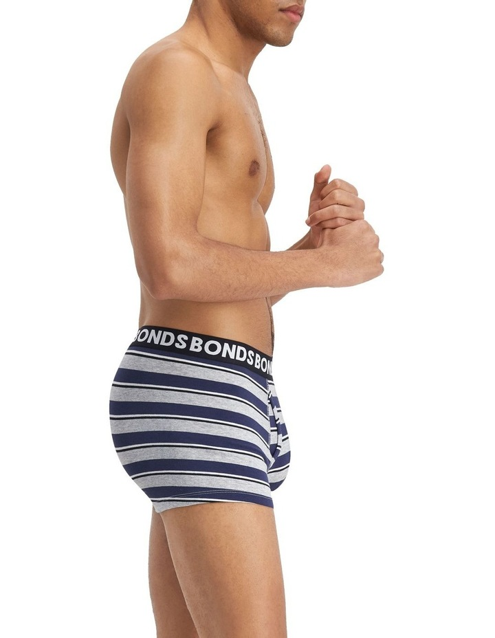 3 Pack Everyday Stripe Trunks Black/Blue Stripe image 4