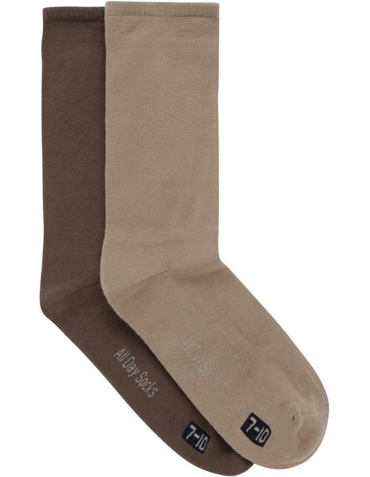 2 Pack Plain Cotton Sock Hm2041 image 1