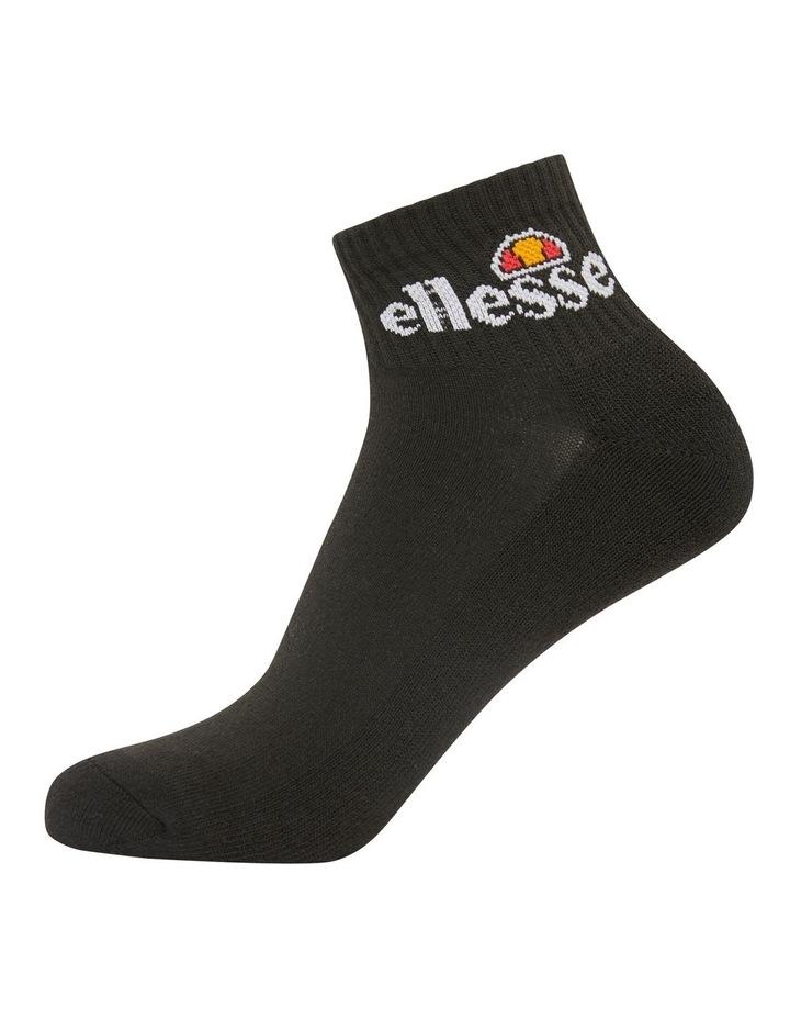 3 Pack Rallo Quarter Crew Sport Socks Black image 1