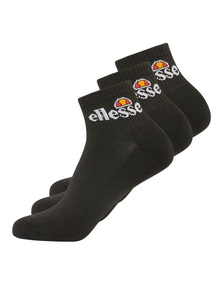3 Pack Rallo Quarter Crew Sport Socks Black image 2