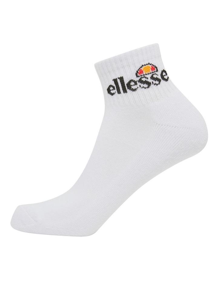 3 Pack Rallo Quarter Crew Sport Socks White image 1
