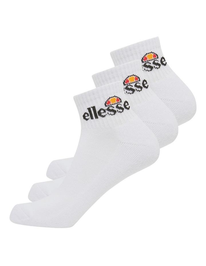3 Pack Rallo Quarter Crew Sport Socks White image 2