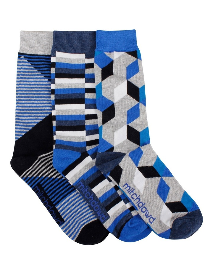Line Geo Blues 3 Pack Socks Gift Box image 1