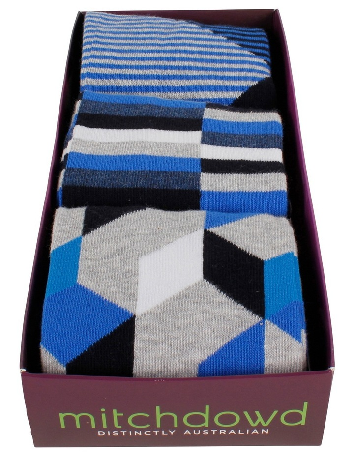 Line Geo Blues 3 Pack Socks Gift Box image 2