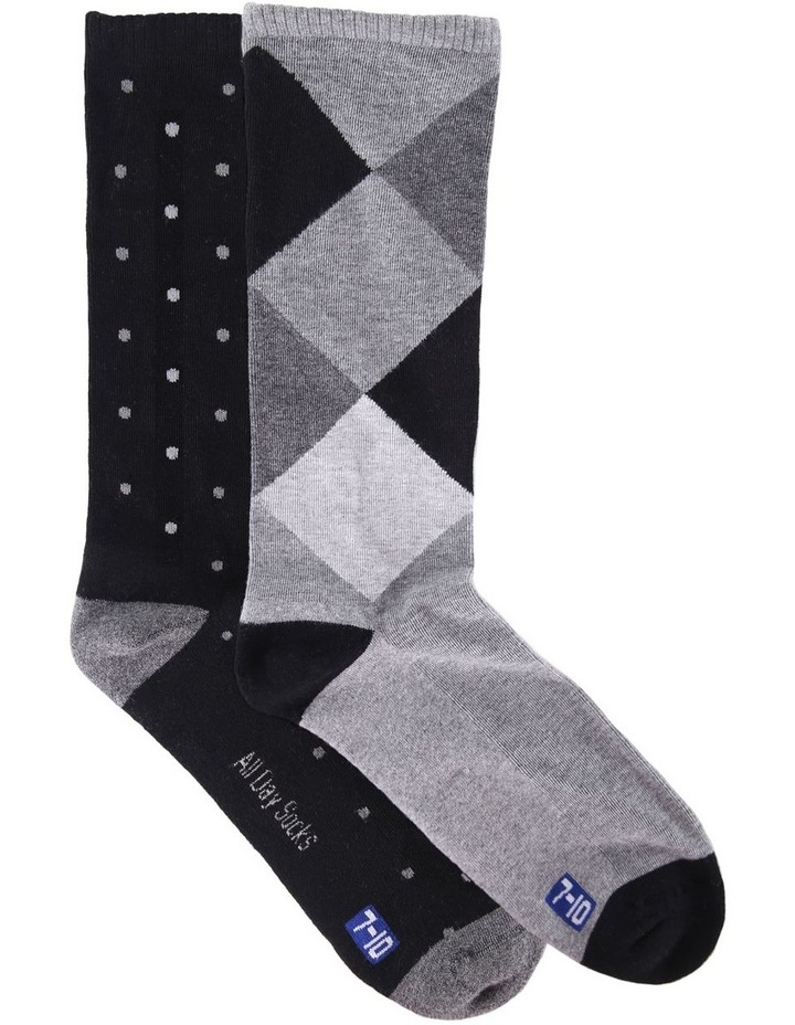 2 Pack Argyle Spot Health Sock image 1