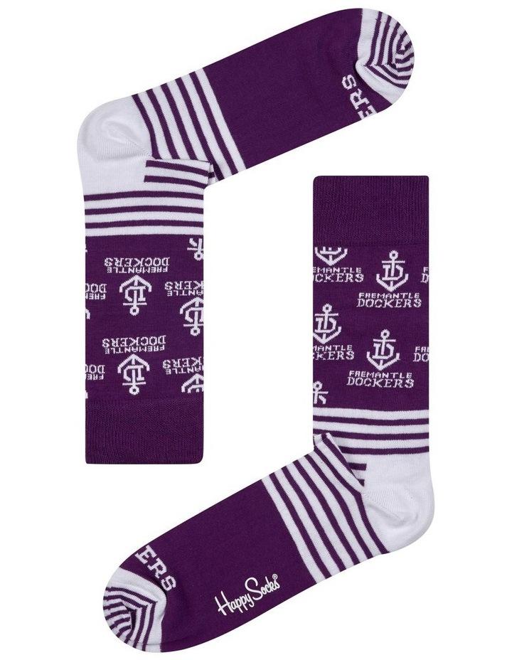 Fremantle AFL Stripes and Logo Sock image 1