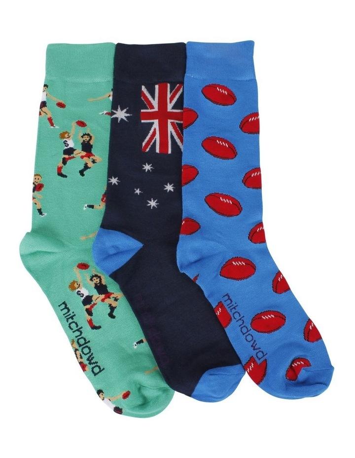 Aussie Rules 3 Pack Bamboo Socks Gift Box image 1