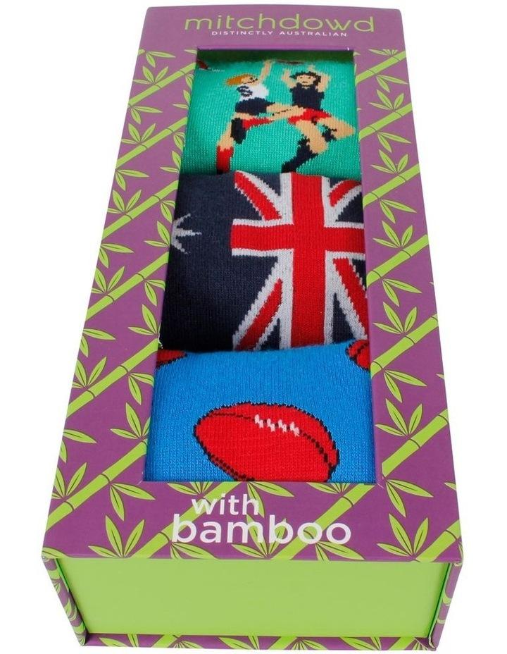 Aussie Rules 3 Pack Bamboo Socks Gift Box image 2
