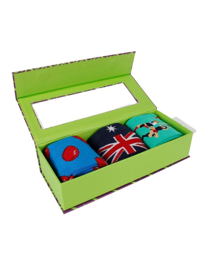 Aussie Rules 3 Pack Bamboo Socks Gift Box image 3