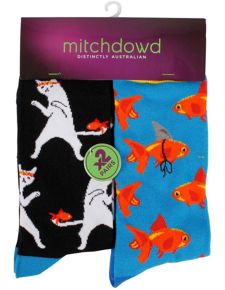 Ninja Cat & Goldfish 2 Pack Socks image 1