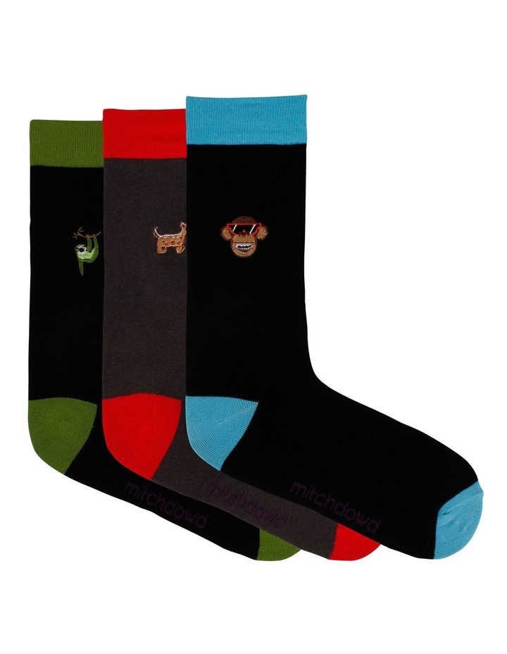 Embroidered Animals 3 Pack Socks image 1