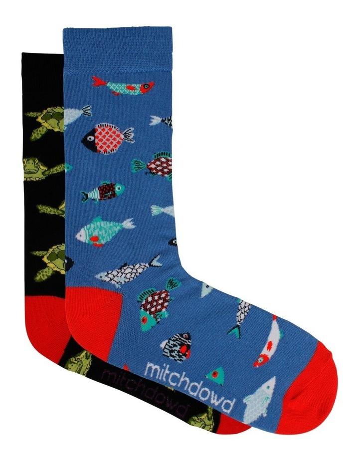 Turtle & Fish 2 Pack Socks image 1