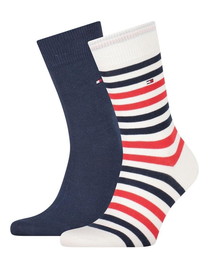 2 Pack Duo Stripe Cotton Socks image 1