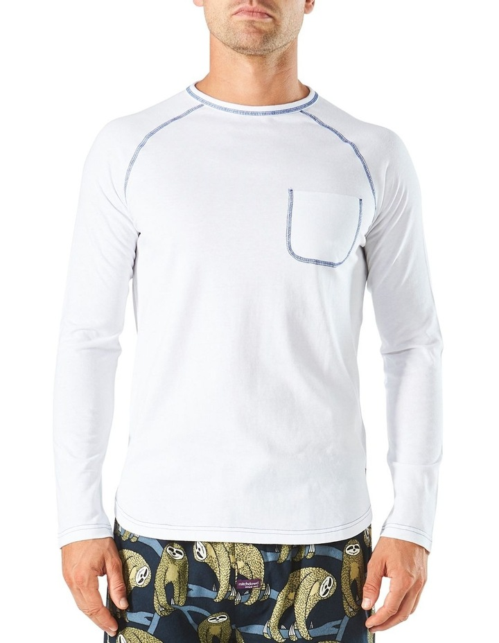 Long Sleeve Contrast Stitch Raglan Sleep Tee image 1