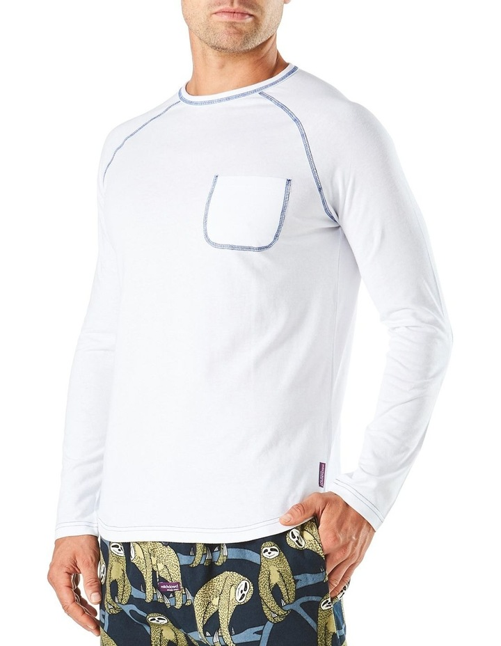 Long Sleeve Contrast Stitch Raglan Sleep Tee image 2