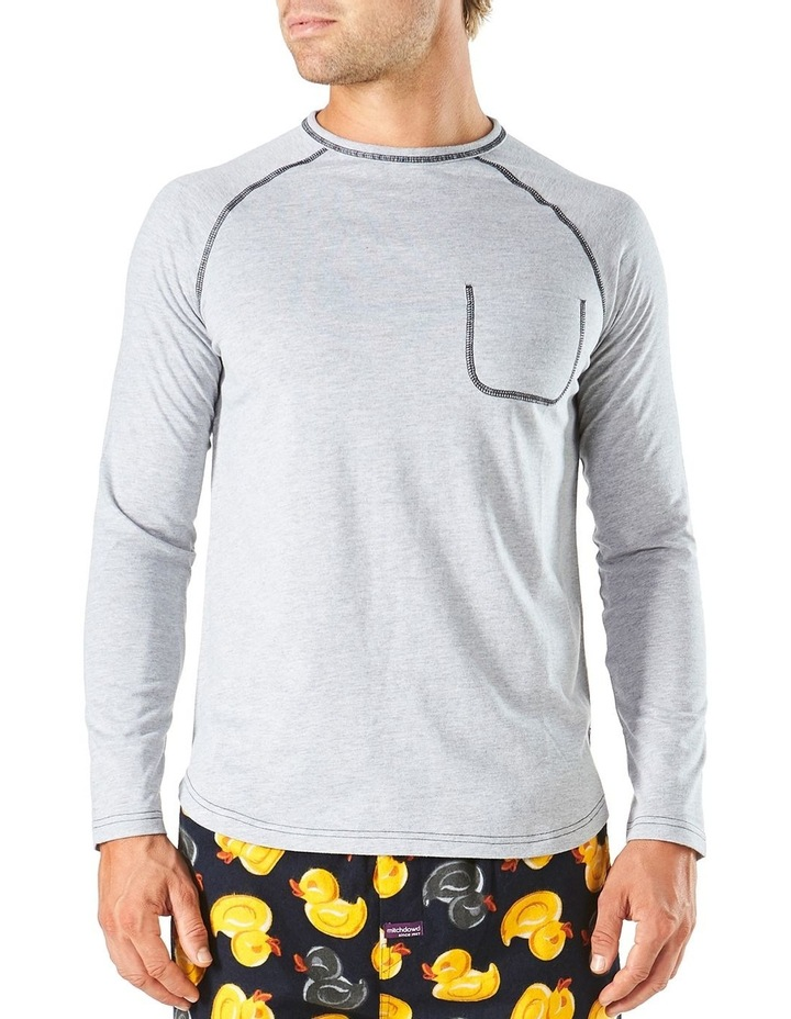 Long Sleeve Contrast Stitch Raglan Sleep Tee image 1