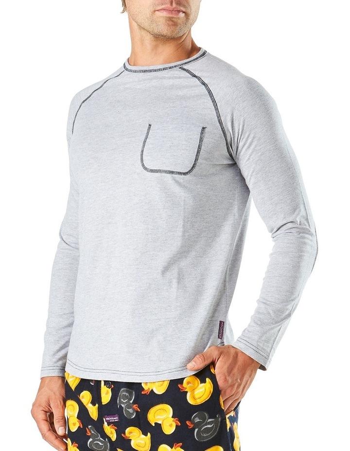 Long Sleeve Contrast Stitch Raglan Sleep Tee image 2