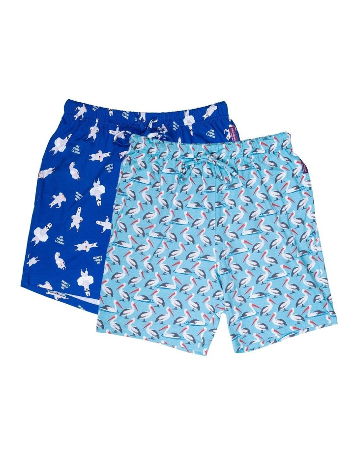 2 Pack Pelican/Llamma Knit Sleep Shorts image 1