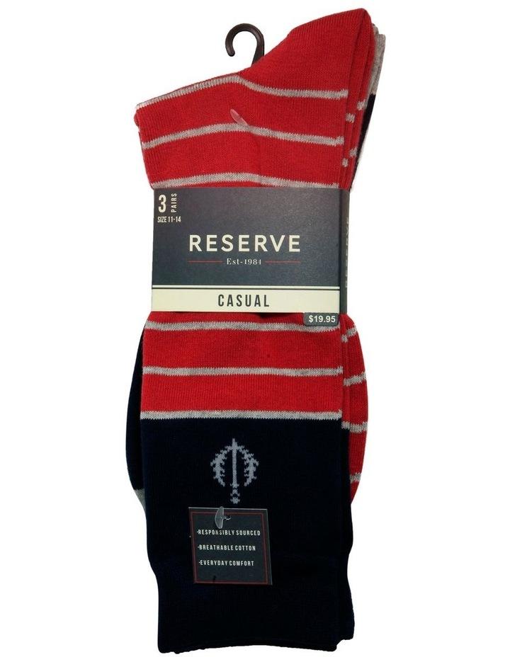 3 Pack Stripe Cotton Sock image 2