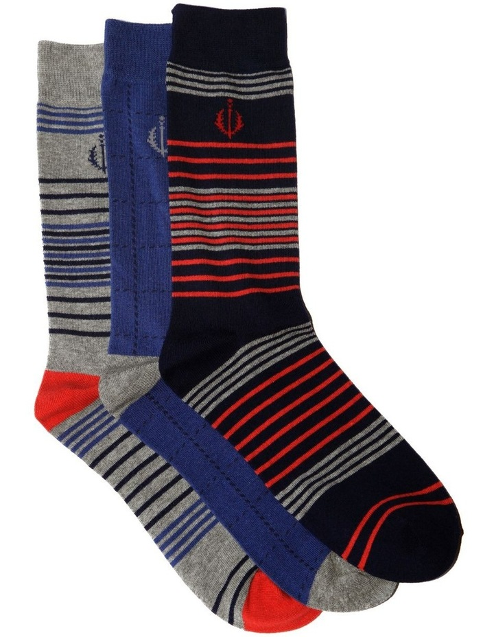 3 Pack Nautical Stripe Cotton Sock image 1