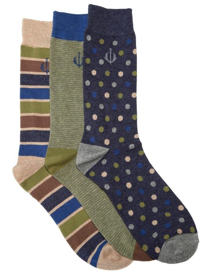3 Pack Stripe Spot Cotton Sock image 1
