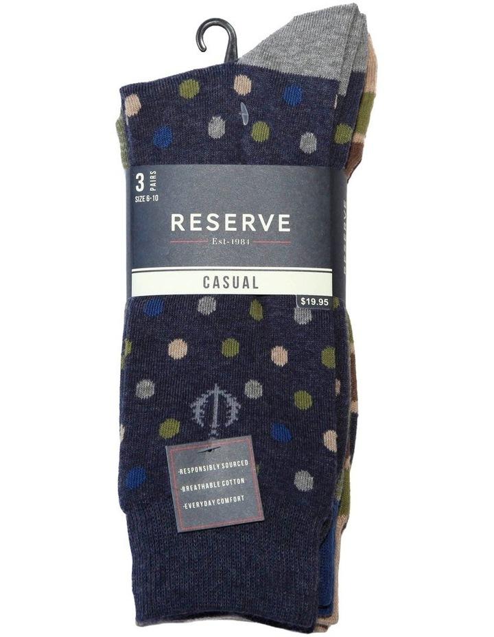 3 Pack Stripe Spot Cotton Sock image 2