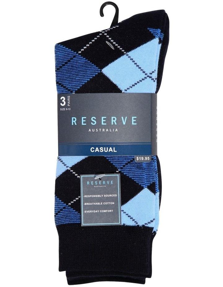 3 Pack Fashion Cotton Sock - Argyle image 2