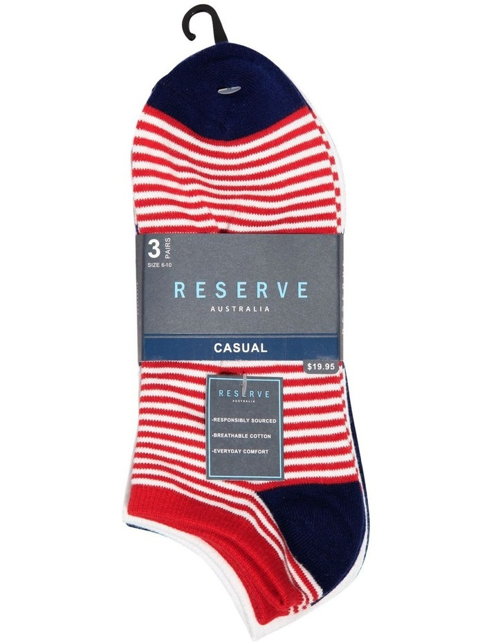 3 Pack Fashion Stripes Cotton Sneaker Sock image 2