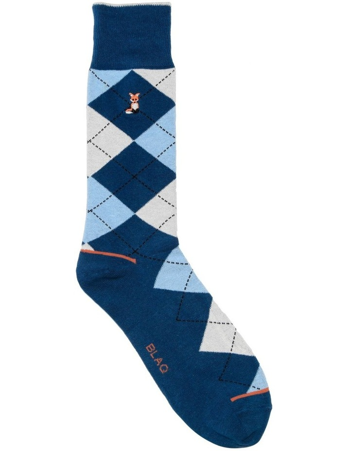 Fox Embroidery Argyle Casual Sock image 1