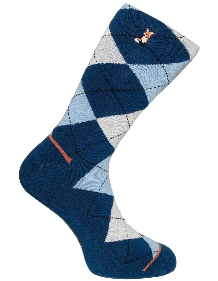 Fox Embroidery Argyle Casual Sock image 3