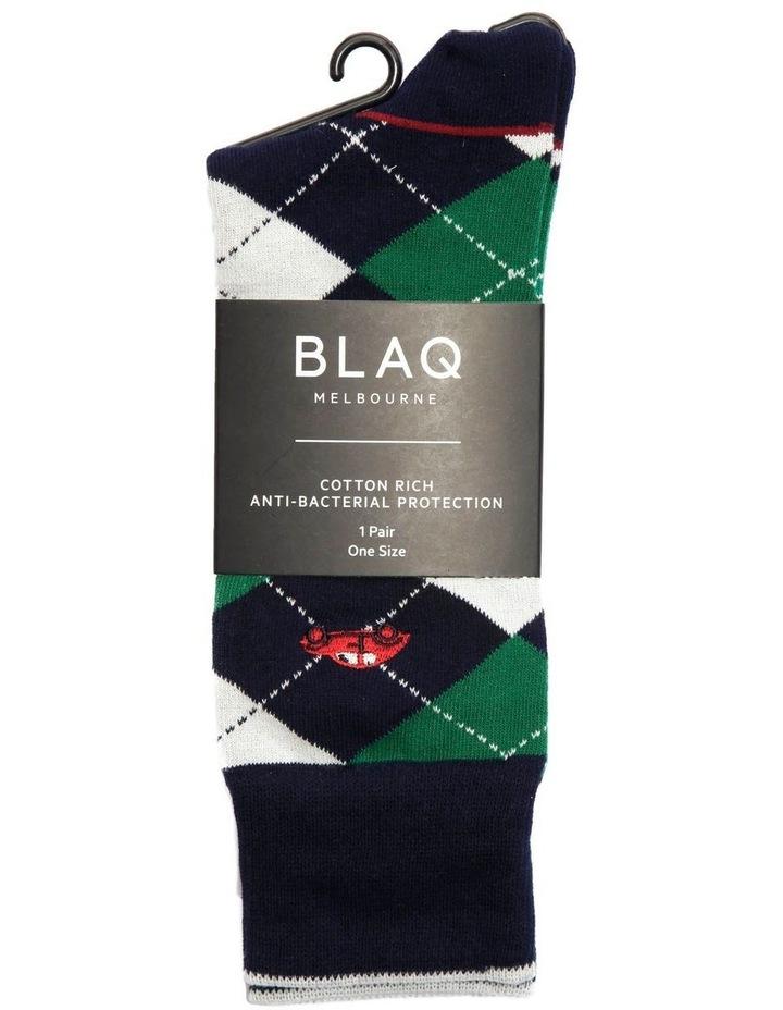 Buggi Embroidery Argyle Casual Sock image 2