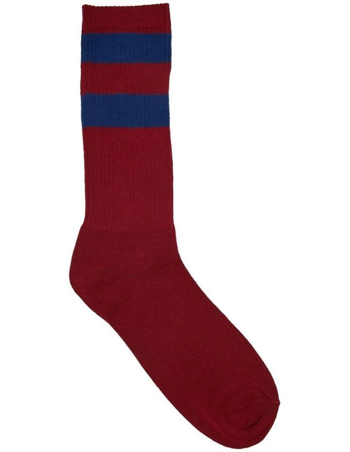 Block Stripe Sports Crew Sock image 1